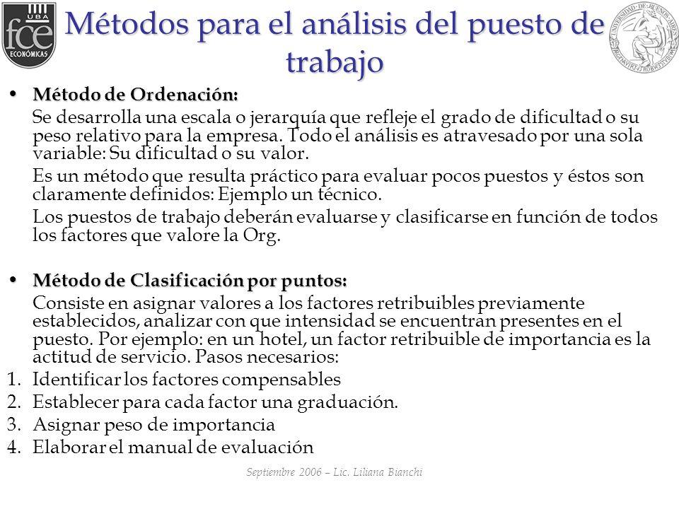 Métodos para el análisis del puesto de trabajo Método de Ordenación: Método de Ordenación: Se desarrolla una escala o jerarquía que refleje el grado d