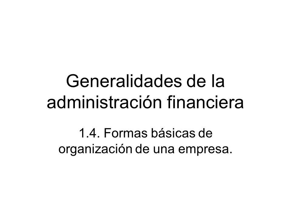 Generalidades de la administración financiera 1.4. Formas básicas de organización de una empresa.