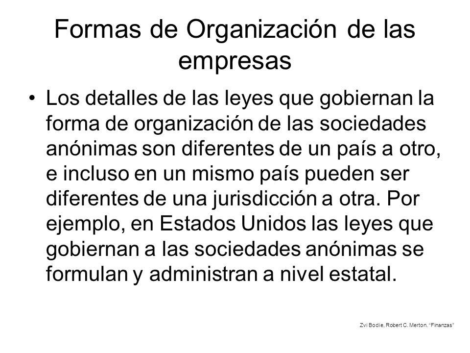 Formas de Organización de las empresas Los detalles de las leyes que gobiernan la forma de organización de las sociedades anónimas son diferentes de u