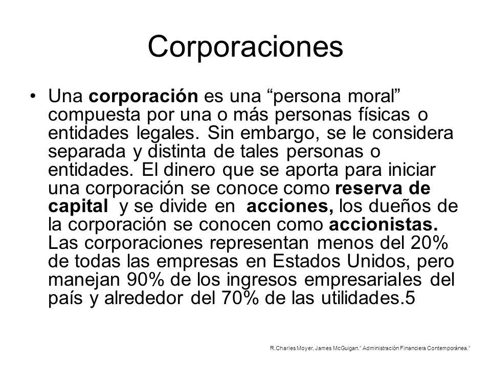 Corporaciones Una corporación es una persona moral compuesta por una o más personas físicas o entidades legales. Sin embargo, se le considera separada