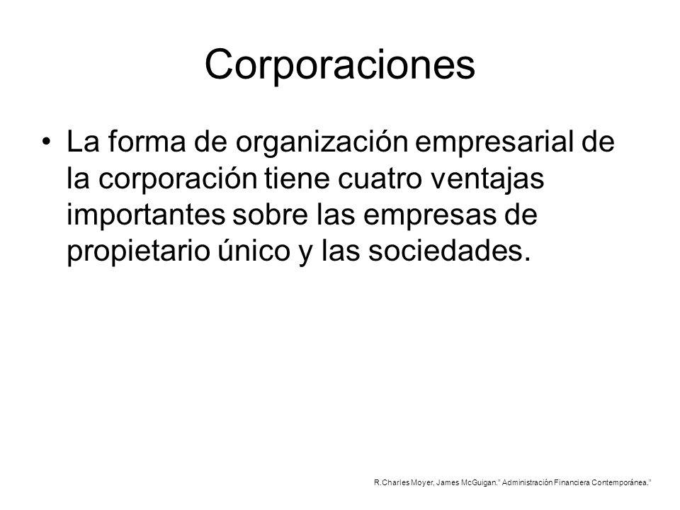 Corporaciones La forma de organización empresarial de la corporación tiene cuatro ventajas importantes sobre las empresas de propietario único y las s