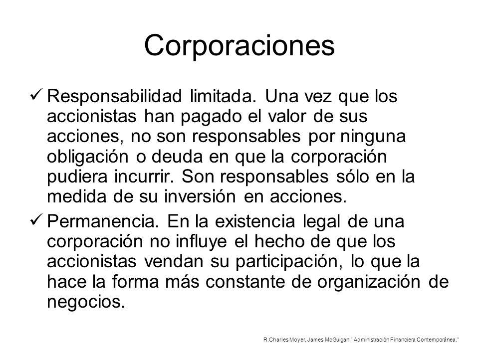 Corporaciones Responsabilidad limitada. Una vez que los accionistas han pagado el valor de sus acciones, no son responsables por ninguna obligación o