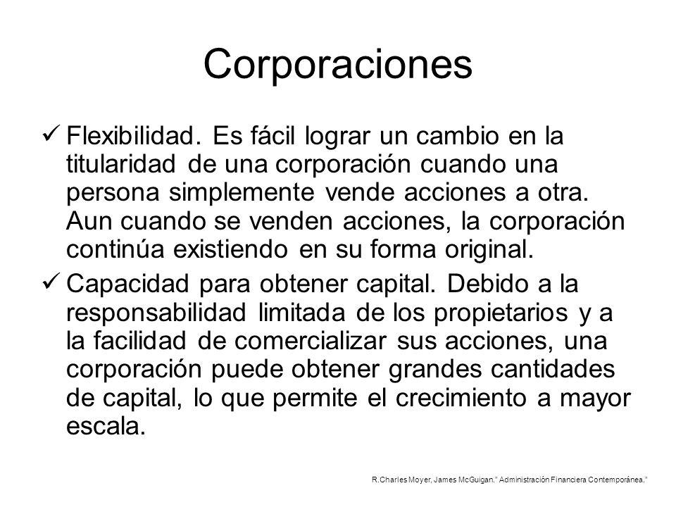 Corporaciones Flexibilidad. Es fácil lograr un cambio en la titularidad de una corporación cuando una persona simplemente vende acciones a otra. Aun c