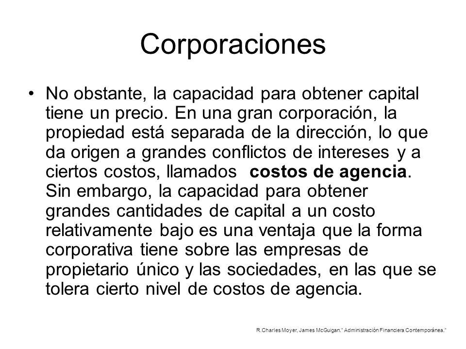 Corporaciones No obstante, la capacidad para obtener capital tiene un precio. En una gran corporación, la propiedad está separada de la dirección, lo