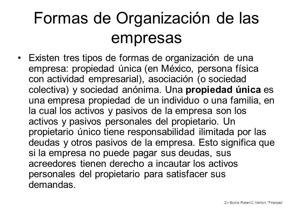 Formas de Organización de las empresas Existen tres tipos de formas de organización de una empresa: propiedad única (en México, persona física con act