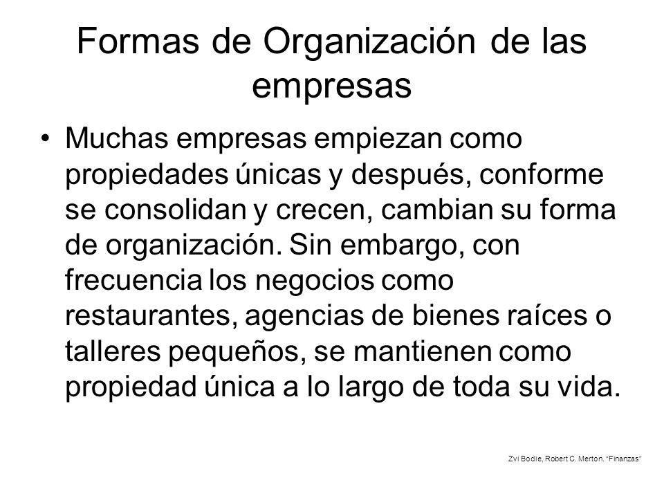 Formas de Organización de las empresas Muchas empresas empiezan como propiedades únicas y después, conforme se consolidan y crecen, cambian su forma d