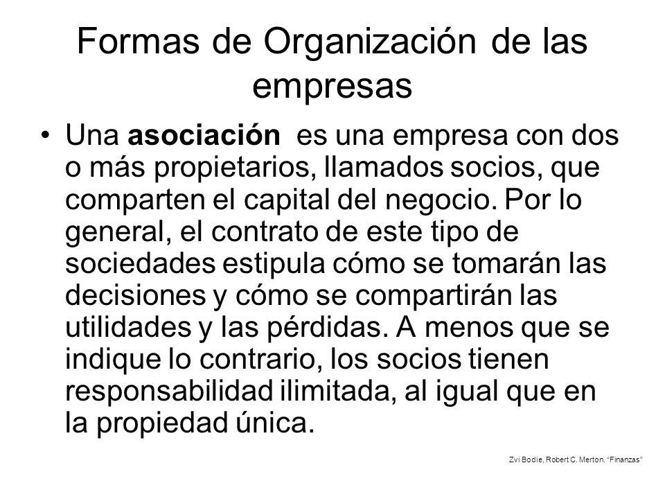 Formas de Organización de las empresas Una asociación es una empresa con dos o más propietarios, llamados socios, que comparten el capital del negocio