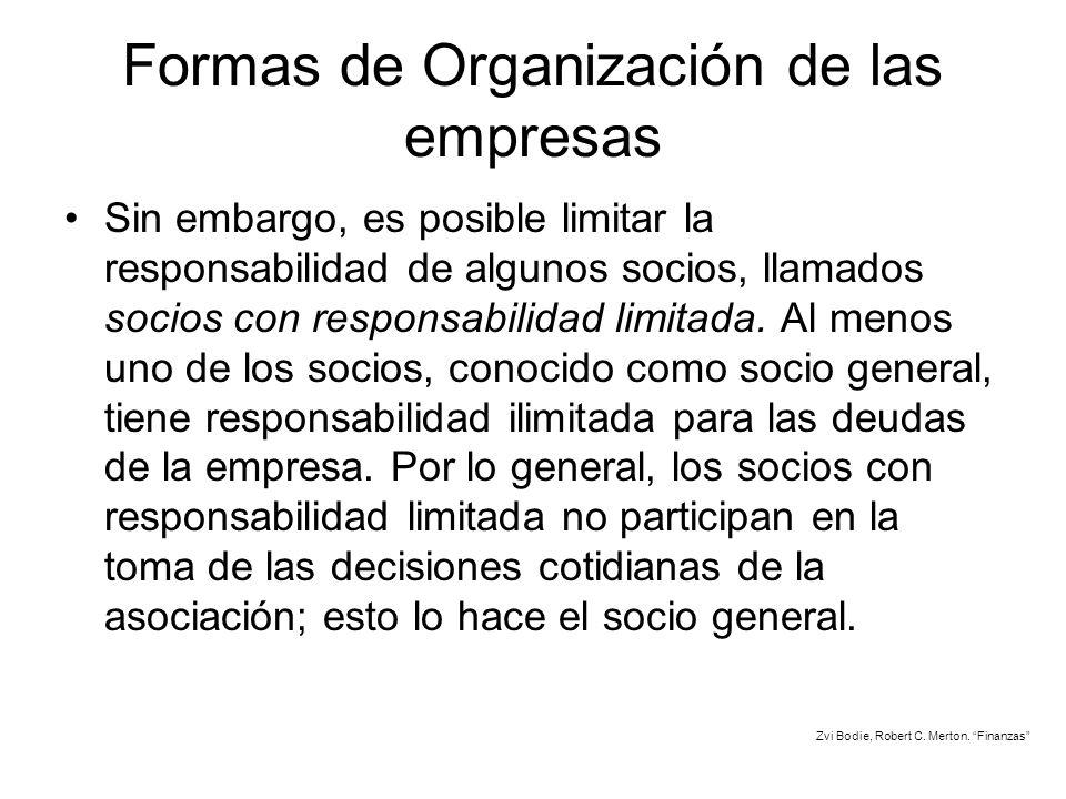 Formas de Organización de las empresas Sin embargo, es posible limitar la responsabilidad de algunos socios, llamados socios con responsabilidad limit