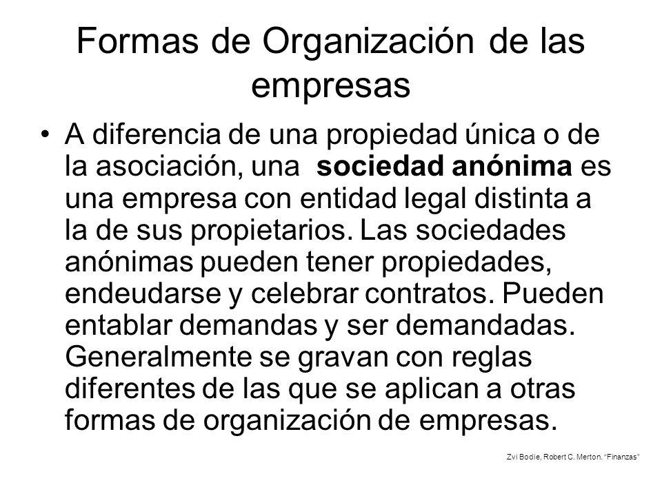 Formas de Organización de las empresas A diferencia de una propiedad única o de la asociación, una sociedad anónima es una empresa con entidad legal d