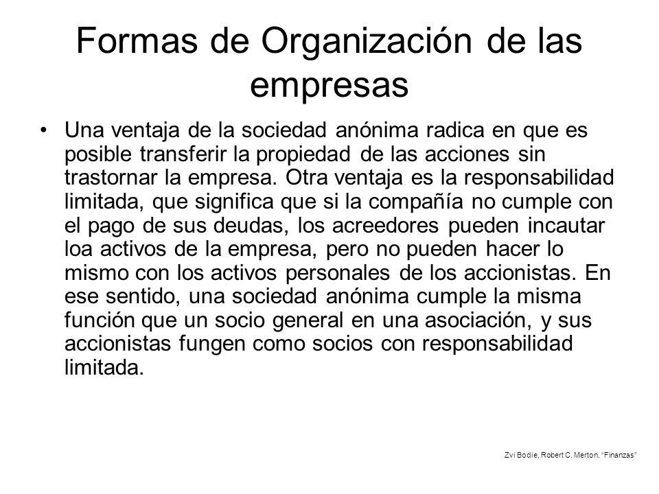 Formas de Organización de las empresas Una ventaja de la sociedad anónima radica en que es posible transferir la propiedad de las acciones sin trastor