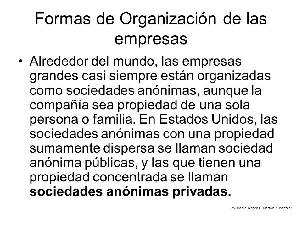 Formas de Organización de las empresas Alrededor del mundo, las empresas grandes casi siempre están organizadas como sociedades anónimas, aunque la co