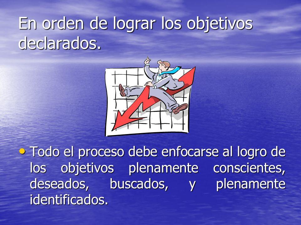 En orden de lograr los objetivos declarados. Todo el proceso debe enfocarse al logro de los objetivos plenamente conscientes, deseados, buscados, y pl
