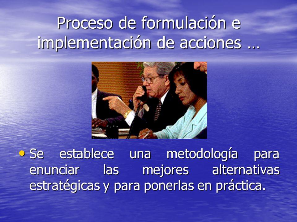 Proceso de formulación e implementación de acciones … Se establece una metodología para enunciar las mejores alternativas estratégicas y para ponerlas