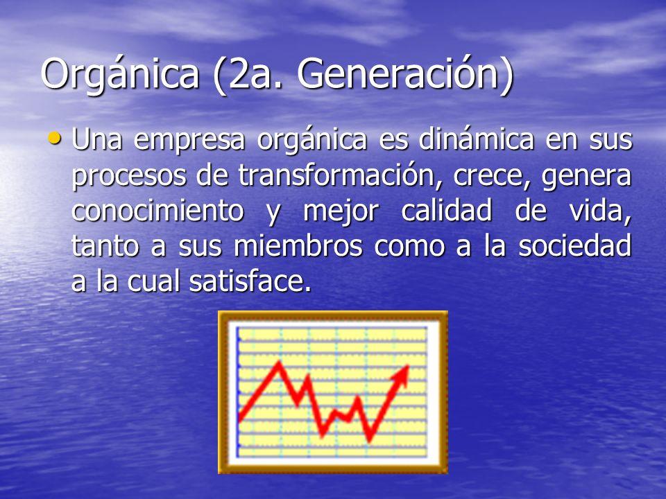 Orgánica (2a. Generación) Una empresa orgánica es dinámica en sus procesos de transformación, crece, genera conocimiento y mejor calidad de vida, tant