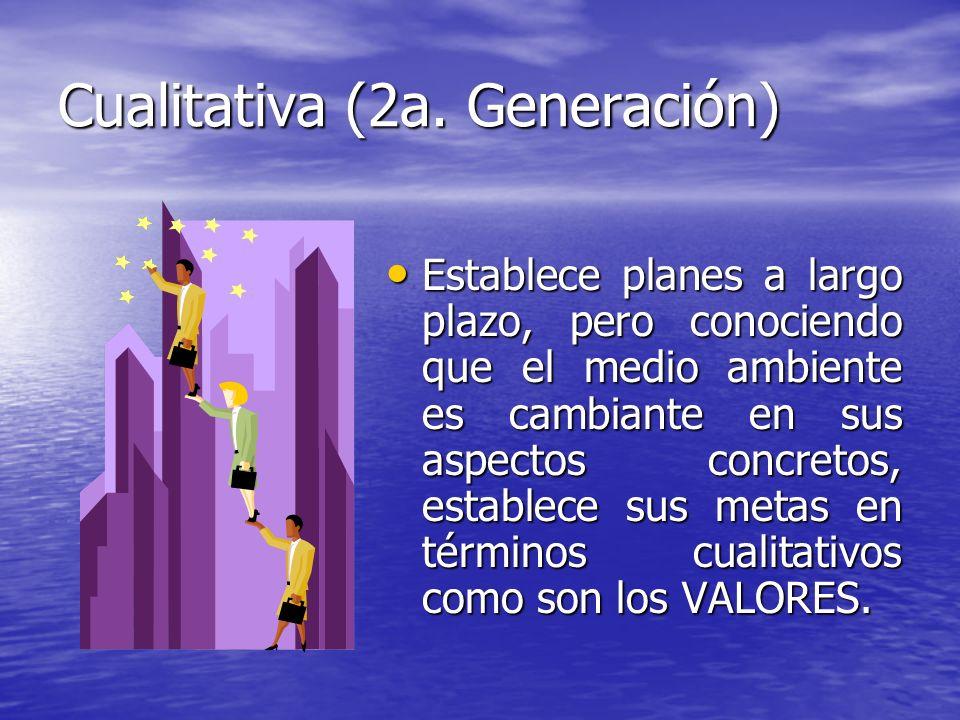 Cualitativa (2a. Generación) Establece planes a largo plazo, pero conociendo que el medio ambiente es cambiante en sus aspectos concretos, establece s
