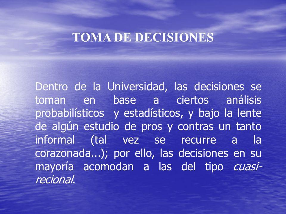 TOMA DE DECISIONES Dentro de la Universidad, las decisiones se toman en base a ciertos análisis probabilísticos y estadísticos, y bajo la lente de alg
