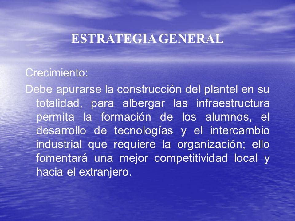 ESTRATEGIA GENERAL Crecimiento: Debe apurarse la construcción del plantel en su totalidad, para albergar las infraestructura permita la formación de l