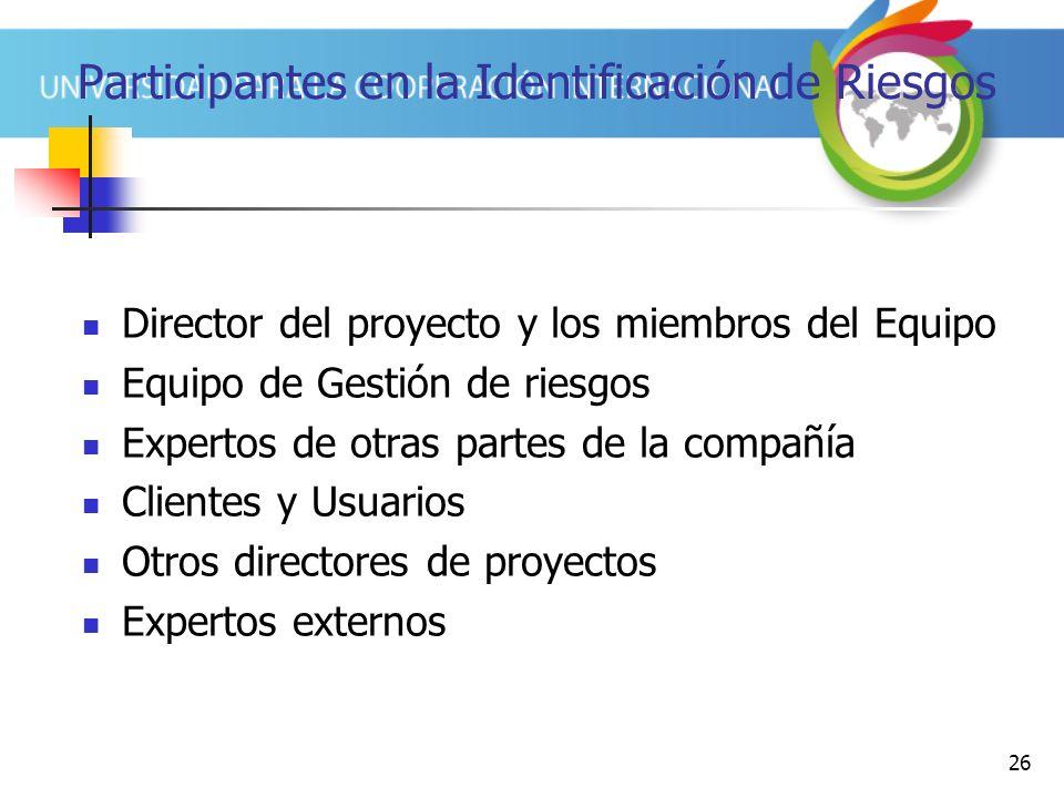 26 Participantes en la Identificación de Riesgos Director del proyecto y los miembros del Equipo Equipo de Gestión de riesgos Expertos de otras partes de la compañía Clientes y Usuarios Otros directores de proyectos Expertos externos