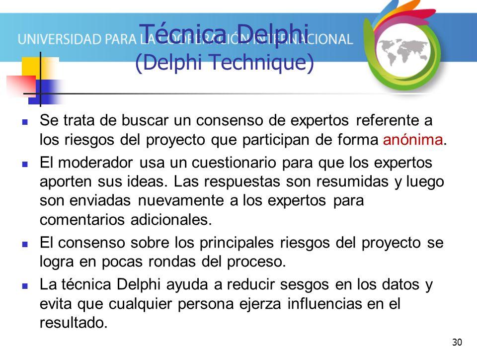 30 Técnica Delphi (Delphi Technique) Se trata de buscar un consenso de expertos referente a los riesgos del proyecto que participan de forma anónima.