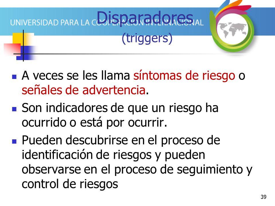39 Disparadores (triggers) A veces se les llama síntomas de riesgo o señales de advertencia.