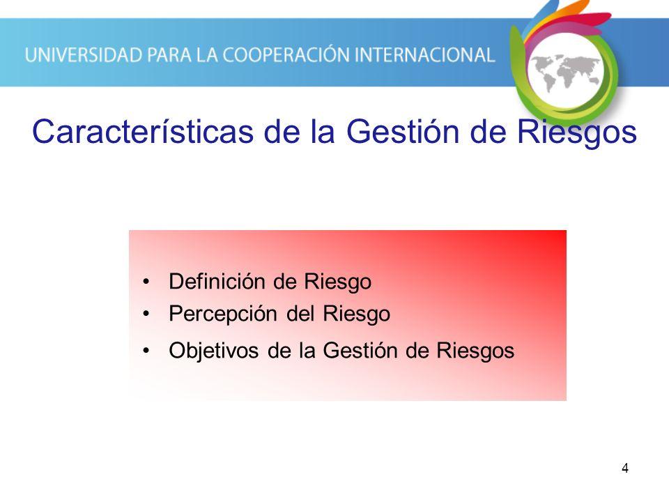 4 Características de la Gestión de Riesgos Definición de Riesgo Percepción del Riesgo Objetivos de la Gestión de Riesgos