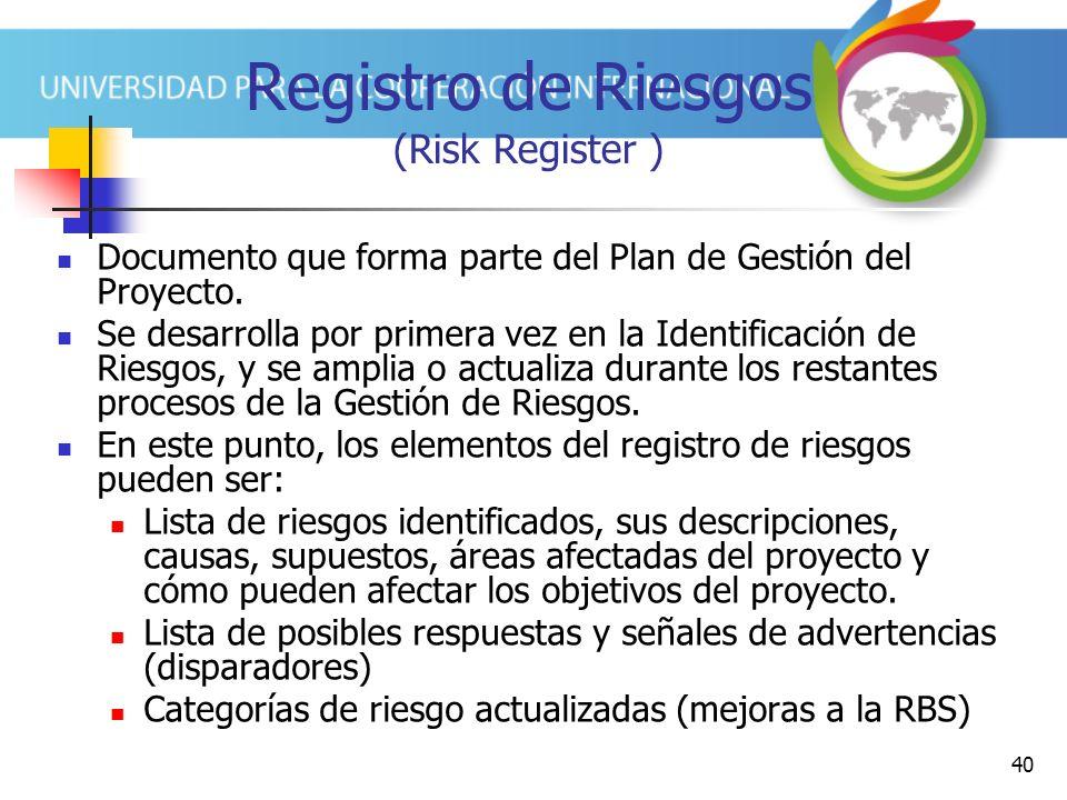 40 Registro de Riesgos (Risk Register ) Documento que forma parte del Plan de Gestión del Proyecto.