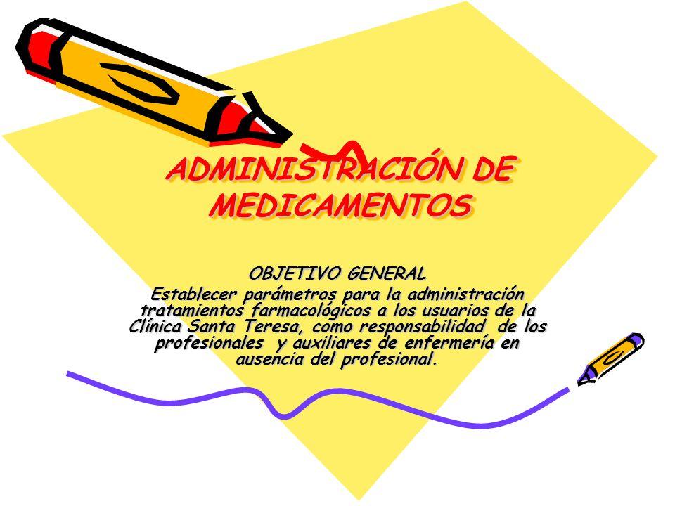 ADMINISTRACIÓN DE MEDICAMENTOS OBJETIVOS ESPECÍFICOS.