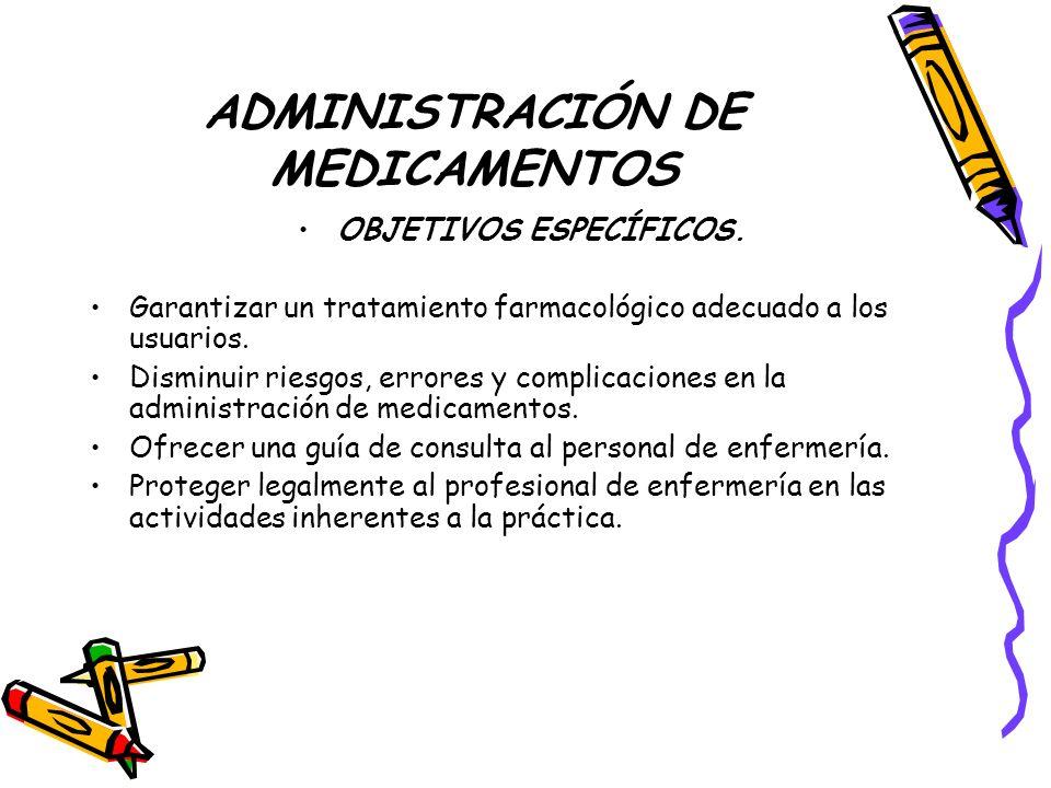 ADMINISTRACIÓN DE MEDICAMENTOS DEFINICIÓN La administración de medicamentos se define como el procedimiento por medio del cual se aplican tratamientos farmacológicos ordenados por el medico, al paciente tendientes a lograr un efecto curativo.