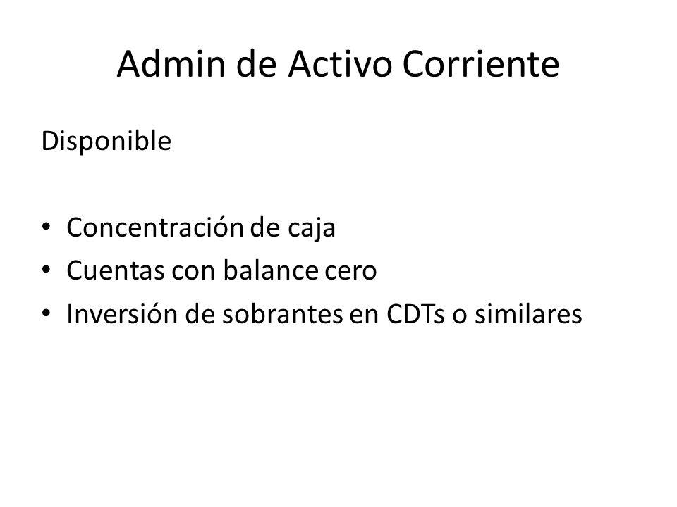 Admin de Activo Corriente Disponible Concentración de caja Cuentas con balance cero Inversión de sobrantes en CDTs o similares