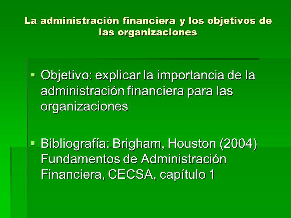 La administración financiera y los objetivos de las organizaciones Objetivo: explicar la importancia de la administración financiera para las organiza