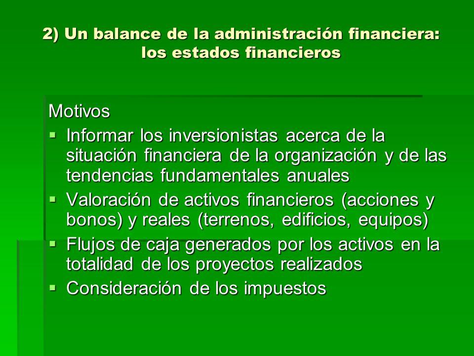 2) Un balance de la administración financiera: los estados financieros Motivos Informar los inversionistas acerca de la situación financiera de la org