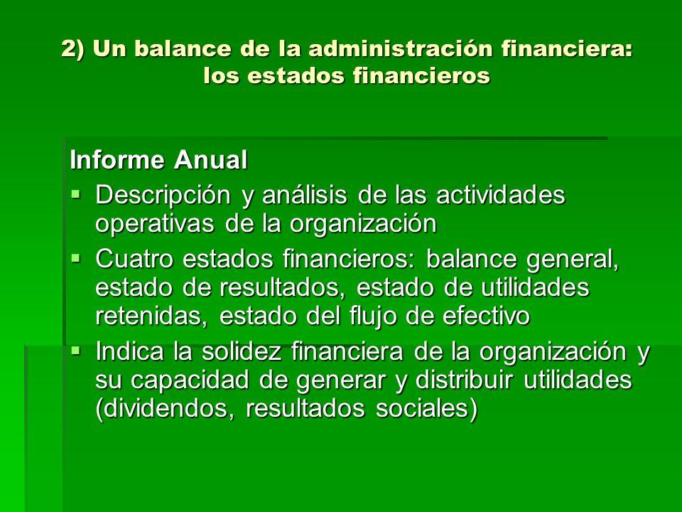 2) Un balance de la administración financiera: los estados financieros Informe Anual Descripción y análisis de las actividades operativas de la organi