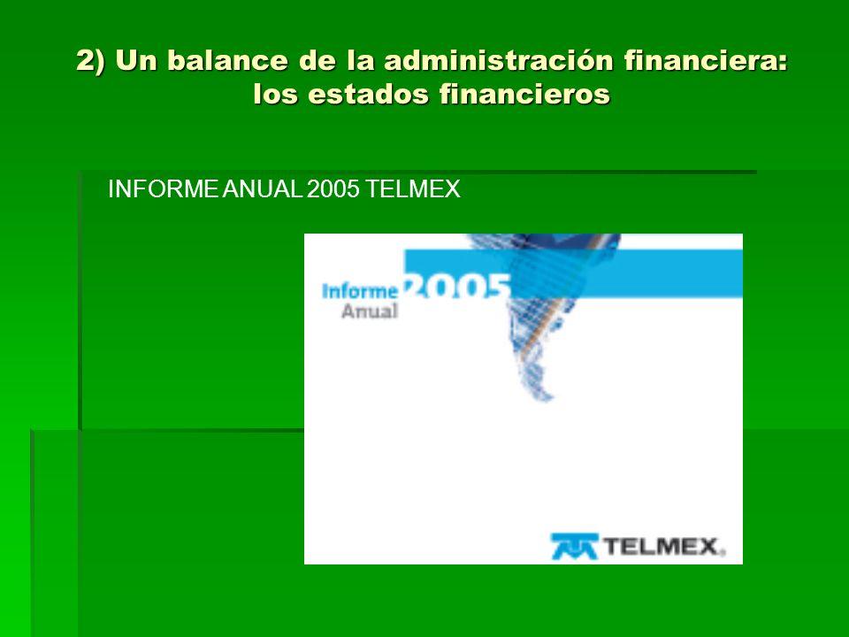 2) Un balance de la administración financiera: los estados financieros INFORME ANUAL 2005 TELMEX