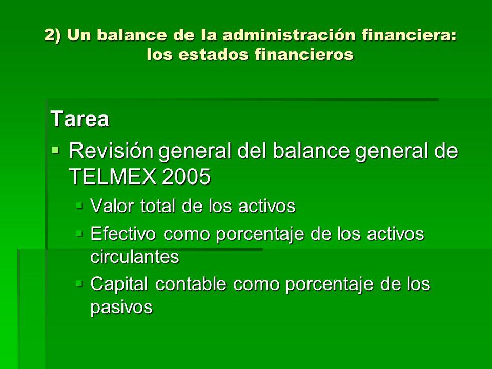 2) Un balance de la administración financiera: los estados financieros Tarea Revisión general del balance general de TELMEX 2005 Revisión general del