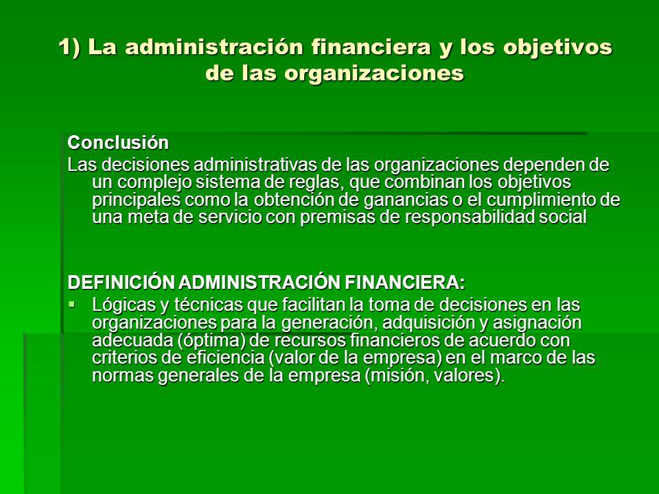 1) La administración financiera y los objetivos de las organizaciones Conclusión Las decisiones administrativas de las organizaciones dependen de un c