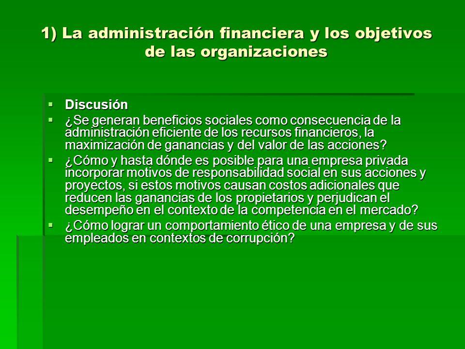 1) La administración financiera y los objetivos de las organizaciones Discusión Discusión ¿Se generan beneficios sociales como consecuencia de la admi