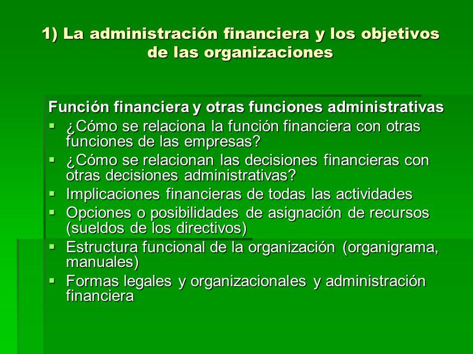 1) La administración financiera y los objetivos de las organizaciones Función financiera y otras funciones administrativas ¿Cómo se relaciona la funci