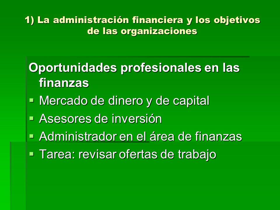1) La administración financiera y los objetivos de las organizaciones Oportunidades profesionales en las finanzas Mercado de dinero y de capital Merca