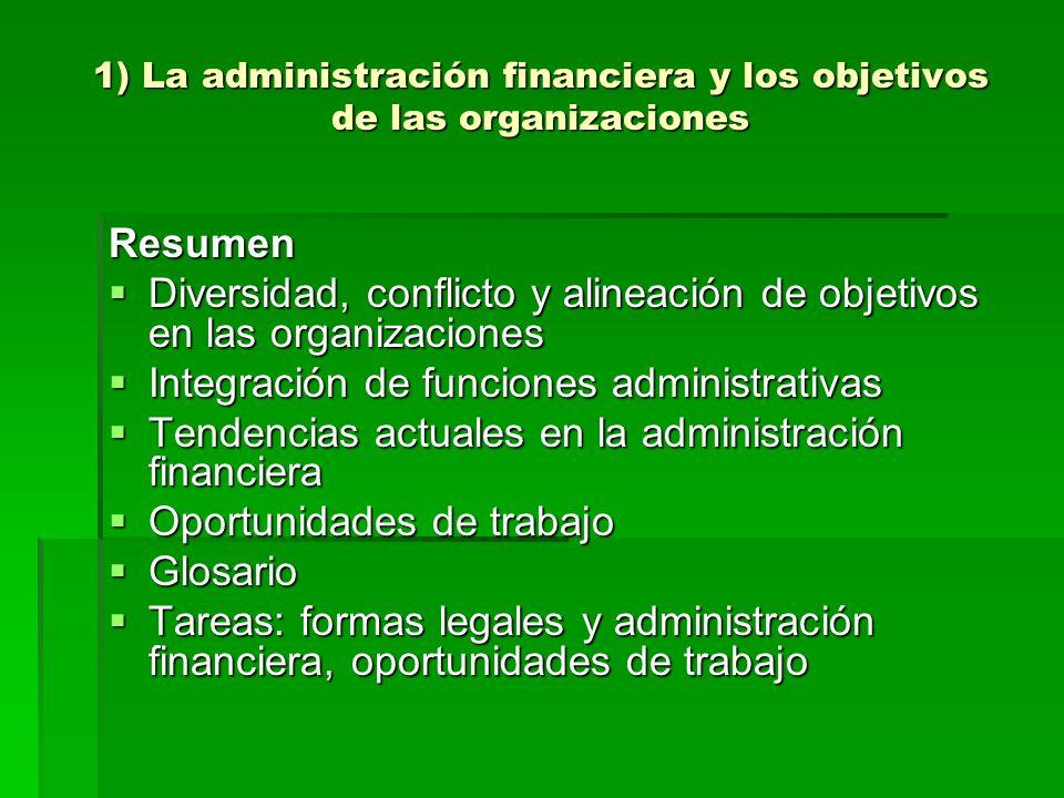 1) La administración financiera y los objetivos de las organizaciones Resumen Diversidad, conflicto y alineación de objetivos en las organizaciones Di