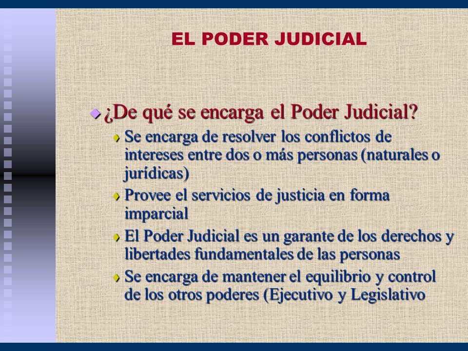 EL PODER JUDICIAL ¿De qué se encarga el Poder Judicial? ¿De qué se encarga el Poder Judicial? Se encarga de resolver los conflictos de intereses entre