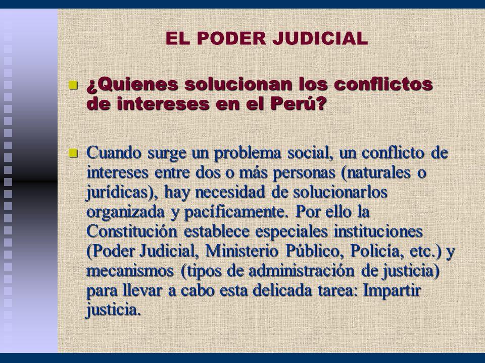 EL PODER JUDICIAL ¿Quienes solucionan los conflictos de intereses en el Perú? ¿Quienes solucionan los conflictos de intereses en el Perú? Cuando surge