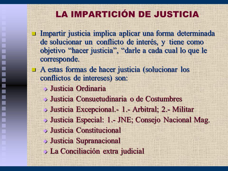 LA IMPARTICIÓN DE JUSTICIA Impartir justicia implica aplicar una forma determinada de solucionar un conflicto de interés, y tiene como objetivo hacer