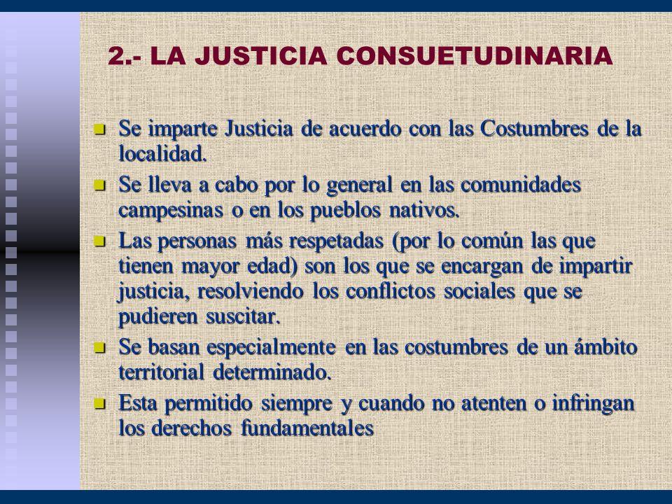 2.- LA JUSTICIA CONSUETUDINARIA Se imparte Justicia de acuerdo con las Costumbres de la localidad. Se imparte Justicia de acuerdo con las Costumbres d