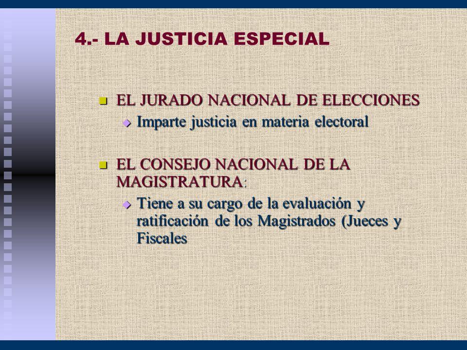 4.- LA JUSTICIA ESPECIAL EL JURADO NACIONAL DE ELECCIONES EL JURADO NACIONAL DE ELECCIONES Imparte justicia en materia electoral Imparte justicia en m