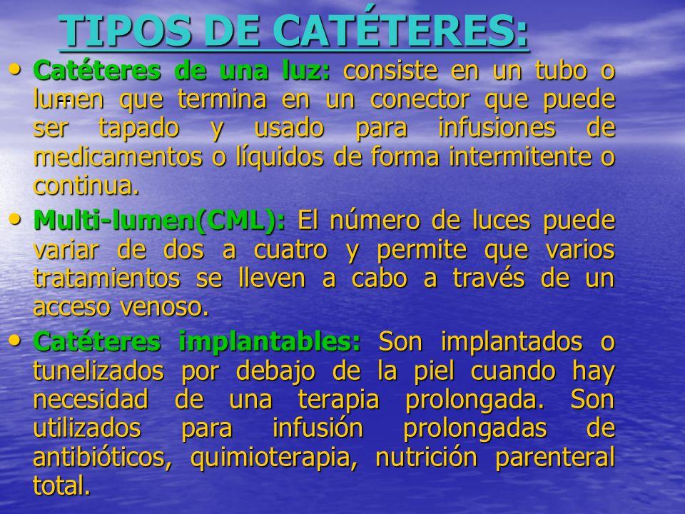 TIPOS DE CATÉTERES: TIPOS DE CATÉTERES: Catéteres de una luz: consiste en un tubo o lumen que termina en un conector que puede ser tapado y usado para infusiones de medicamentos o líquidos de forma intermitente o continua.
