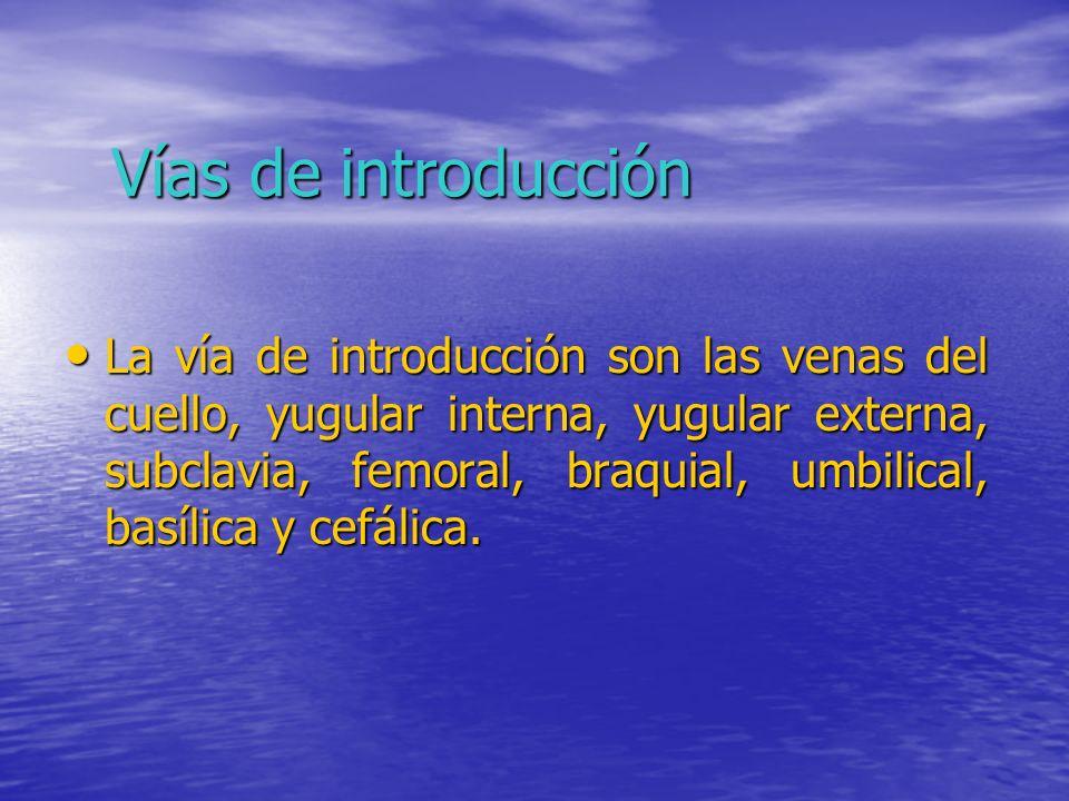 Vías de introducción La vía de introducción son las venas del cuello, yugular interna, yugular externa, subclavia, femoral, braquial, umbilical, basíl