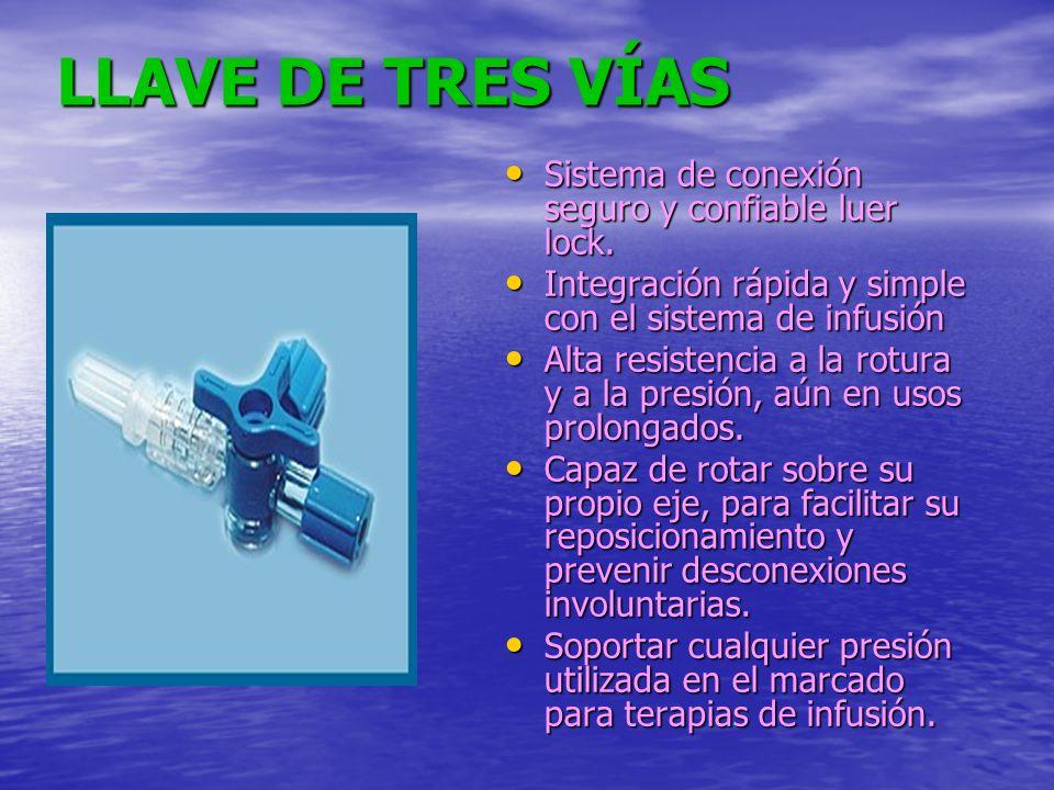LLAVE DE TRES VÍAS Sistema de conexión seguro y confiable luer lock. Sistema de conexión seguro y confiable luer lock. Integración rápida y simple con