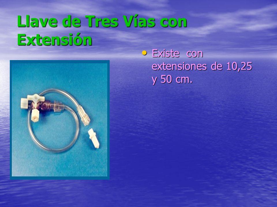 Llave de Tres Vías con Extensión Existe con extensiones de 10,25 y 50 cm.