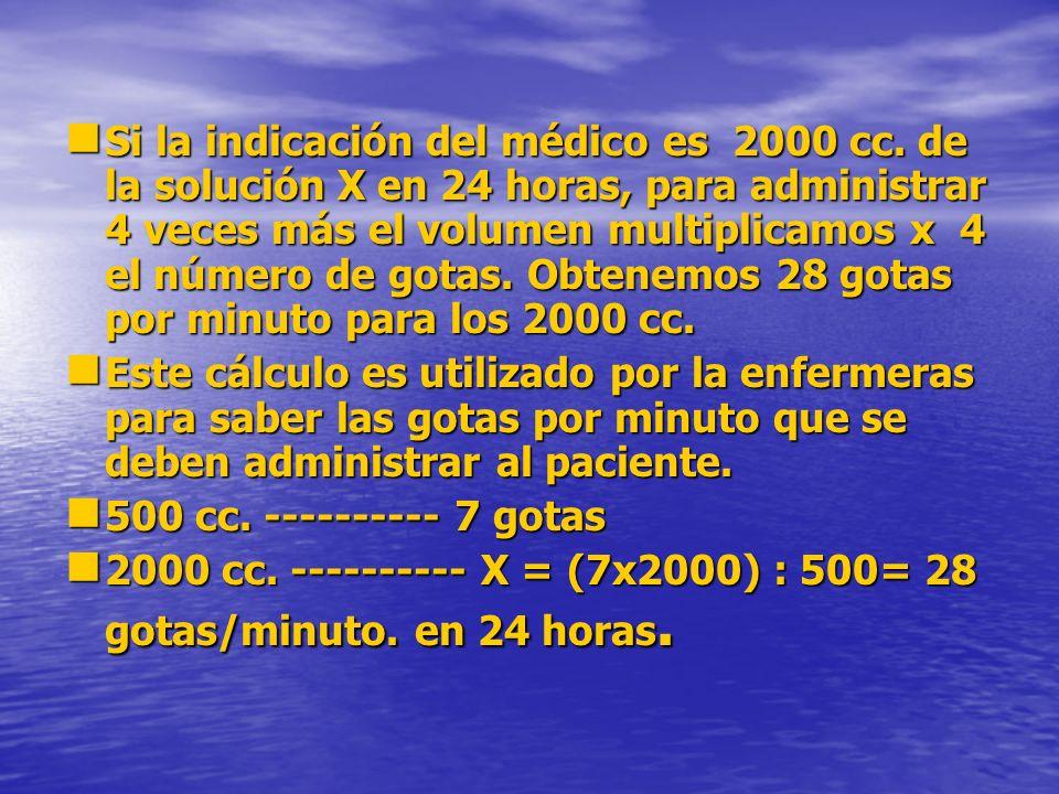 Si la indicación del médico es 2000 cc. de la solución X en 24 horas, para administrar 4 veces más el volumen multiplicamos x 4 el número de gotas. Ob