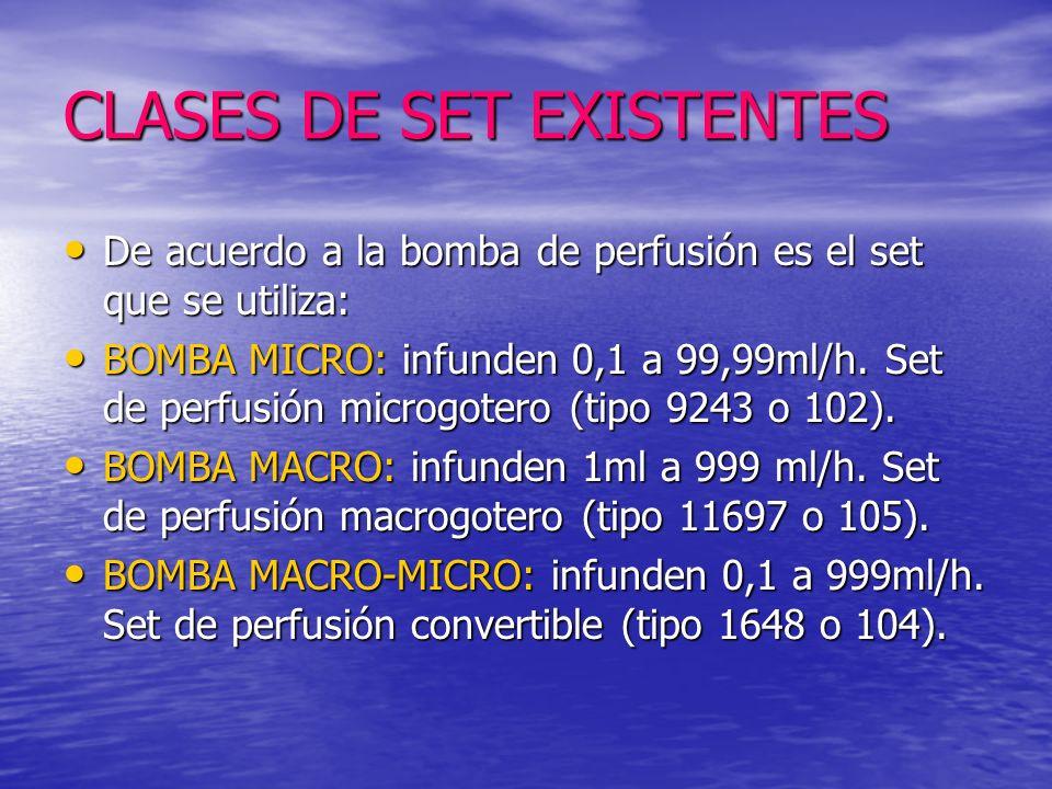 CLASES DE SET EXISTENTES De acuerdo a la bomba de perfusión es el set que se utiliza: De acuerdo a la bomba de perfusión es el set que se utiliza: BOMBA MICRO: infunden 0,1 a 99,99ml/h.
